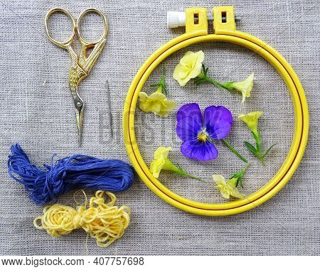 Materials For Embroidery: Scissors, Canvas, Thread And Embroidery Frame. Small Blue And Yellow Flowe