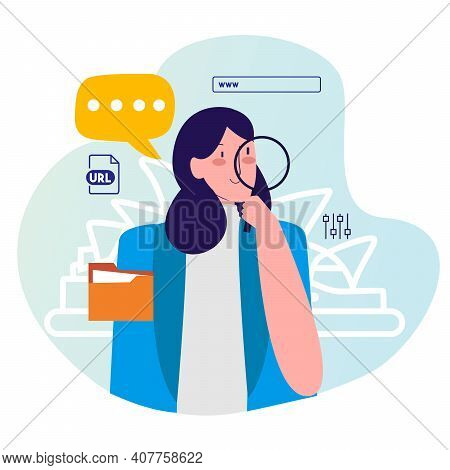 Woman Hold Lupe Searching Information On Internet With Cartoon Flat Style