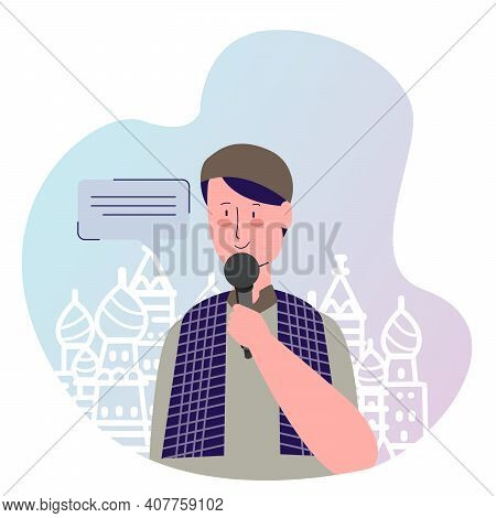 Islamic Religious Leader Preaching Background Of Mosque With Cartoon Flat Style