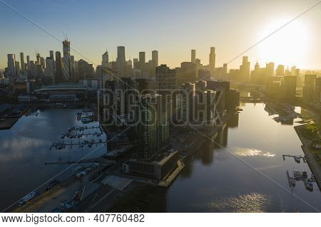 Aerial Video Of Melbourne City At Sunrise