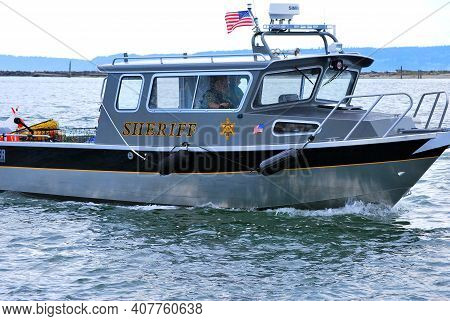 Seattle, Wa. July 11, 2010. Circa: Sheriff Patrol Boat In The Water Looking For People Who Break The