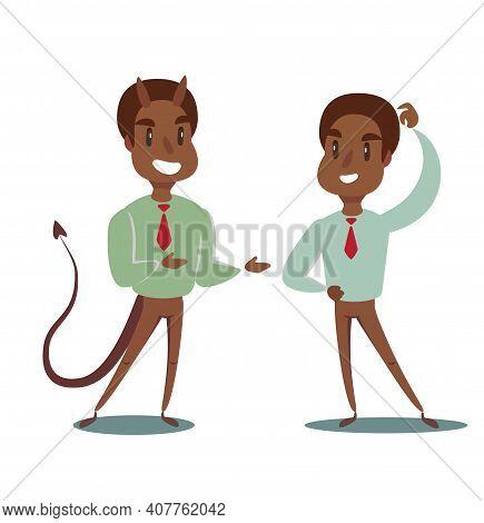 Devil And Businessman. Business Concept Illustration Of A Businessman Making A Deal With Devil. Vect