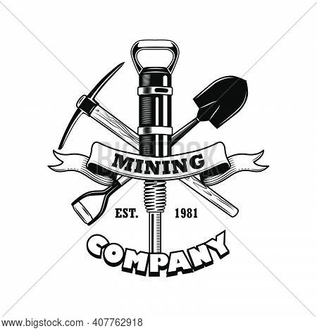 Coal Miners Tools Vector Illustration. Crossed Twibill, Shovel, Jackhammer Pick, Text On Ribbon. Coa