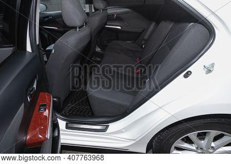 Novosibirsk, Russia - February 07 2021: Toyota Camry, Comfort Car Inside. Clean Car Interior: Black