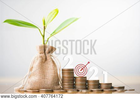 2021 And Coins Stack  With Small Plant Tree. Pension Fund, 401k, Passive Income. Investment And Reti