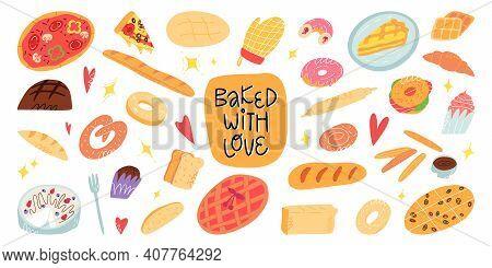 A Big Cartoon Bakery And A Pastry Set. Various Traditional American, Italian, Belgian, German, Spani
