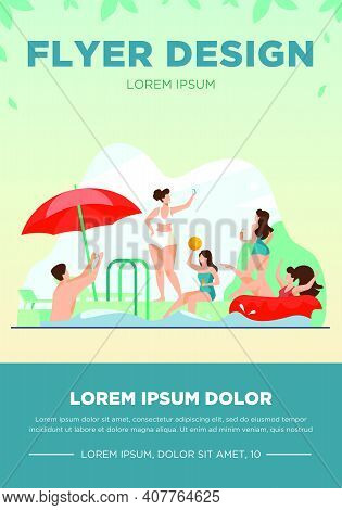 Happy People Enjoying Swimming Pool Party. Men And Women In Swimwear Playing Ball, Floating With Inf