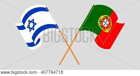 Crossed And Waving Flags Of Israel And Portugal. Vector Illustration