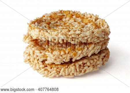 Stack Of Thai Sweet Crispy Rice Cakes With Cane Sugar Drizzle Thai People Call Khaotan Isolated On W