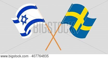 Crossed And Waving Flags Of Israel And Sweden. Vector Illustration