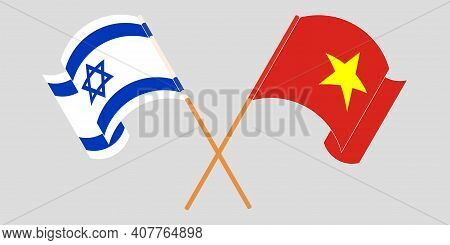 Crossed And Waving Flags Of Israel And Vietnam. Vector Illustration