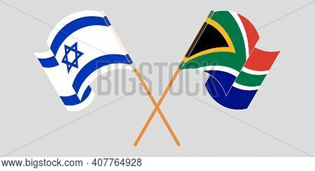 Crossed And Waving Flags Of Israel And Republic Of South Africa. Vector Illustration
