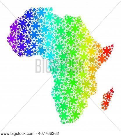 Rainbow Gradient Mosaic Of Africa Map Designed For Christmas Sales. Africa Map Mosaic Is Formed From