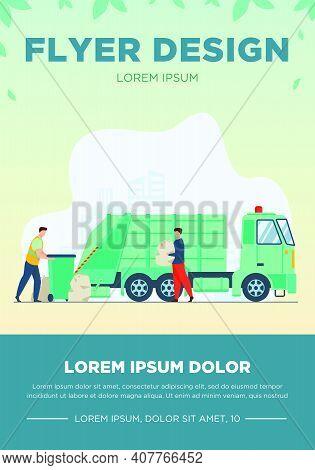 Trash Pickup Worker Cleaning Dustbin At Truck. Man Carrying Trash In Plastic Bag Flat Vector Illustr
