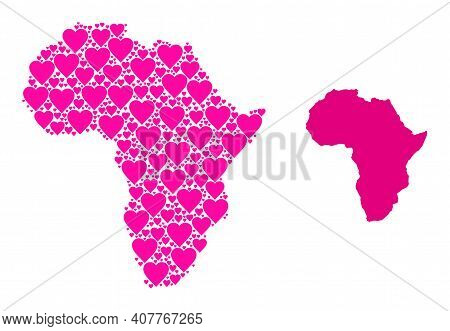 Love Mosaic And Solid Map Of Africa. Collage Map Of Africa Is Composed With Pink Valentine Hearts. V
