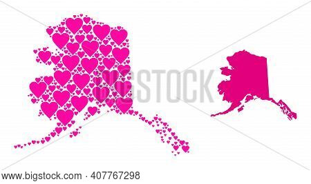 Love Pattern And Solid Map Of Alaska State. Mosaic Map Of Alaska State Is Designed With Pink Lovely