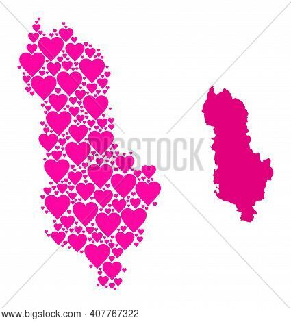 Love Mosaic And Solid Map Of Albania. Mosaic Map Of Albania Is Created With Pink Lovely Hearts. Vect