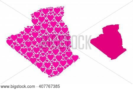 Love Collage And Solid Map Of Algeria. Collage Map Of Algeria Designed From Pink Love Hearts. Vector