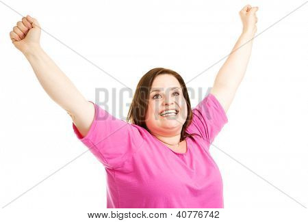 Pretty plus size woman overjoyed to reach her fitness goals.  Isolated on white.