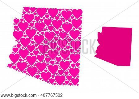 Love Mosaic And Solid Map Of Arizona State. Mosaic Map Of Arizona State Formed With Pink Lovely Hear