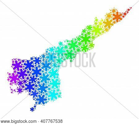 Rainbow Gradient Mosaic Of Andhra Pradesh State Map Designed For Winter Celebration. Andhra Pradesh