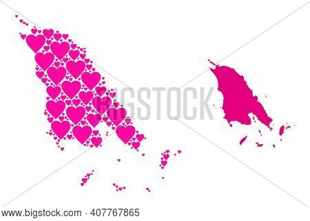 Love Collage And Solid Map Of Koh Chang. Mosaic Map Of Koh Chang Composed With Pink Love Hearts. Vec