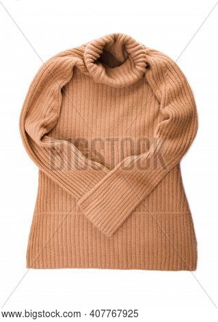 Knitted Sweater On White Background Top View Flat Lay. Fashion Lady Clothes Set Trendy Cozy Knit Jum