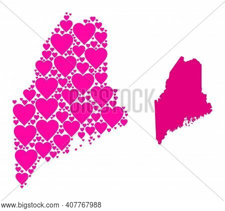 Love Mosaic And Solid Map Of Maine State. Mosaic Map Of Maine State Is Formed With Pink Valentine He