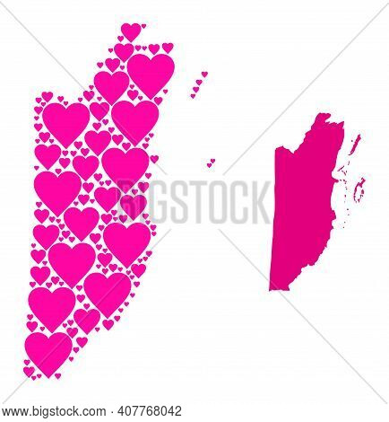 Love Mosaic And Solid Map Of Belize. Mosaic Map Of Belize Is Formed From Pink Love Hearts. Vector Fl