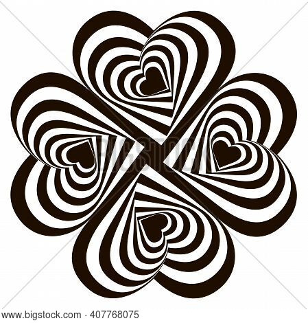 Design Four Striped Hearts Swirl Rotation Illusion Background. Abstract Striped Distortion Twisted B