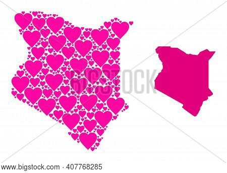 Love Mosaic And Solid Map Of Kenya. Collage Map Of Kenya Created With Pink Love Hearts. Vector Flat