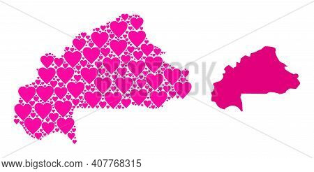 Love Mosaic And Solid Map Of Burkina Faso. Mosaic Map Of Burkina Faso Designed With Pink Lovely Hear