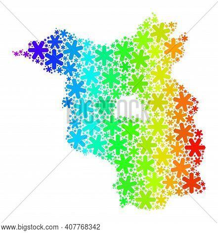 Spectrum Gradient Mosaic Of Brandenburg Land Map Combined For Winter Holidays. Brandenburg Land Map