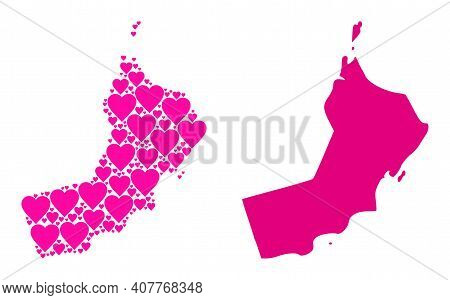 Love Collage And Solid Map Of Oman. Collage Map Of Oman Created With Pink Lovely Hearts. Vector Flat