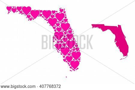 Love Collage And Solid Map Of Florida State. Collage Map Of Florida State Is Designed With Pink Love