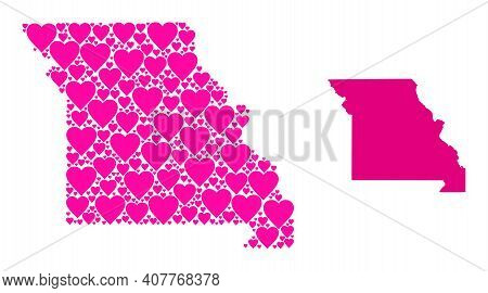 Love Collage And Solid Map Of Missouri State. Collage Map Of Missouri State Is Formed With Pink Love
