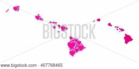Love Pattern And Solid Map Of Hawaii State. Mosaic Map Of Hawaii State Is Created From Pink Lovely H