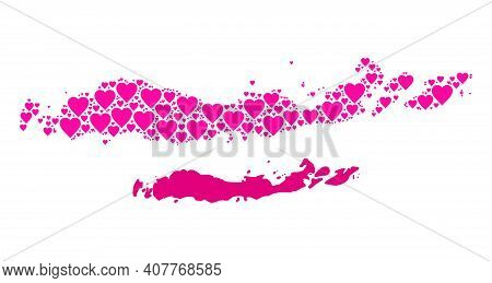Love Collage And Solid Map Of Indonesia - Flores Islands. Collage Map Of Indonesia - Flores Islands