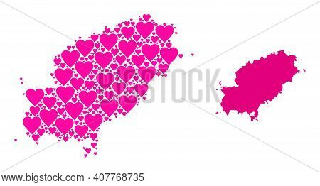 Love Collage And Solid Map Of Ibiza Island. Collage Map Of Ibiza Island Is Created With Pink Lovely