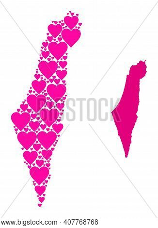 Love Pattern And Solid Map Of Israel. Collage Map Of Israel Is Formed With Pink Hearts. Vector Flat