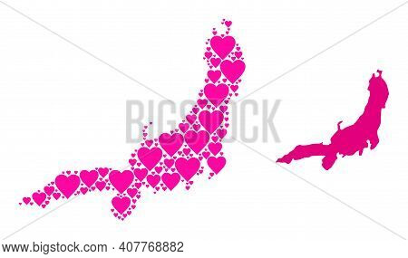 Love Mosaic And Solid Map Of Honshu Island. Mosaic Map Of Honshu Island Composed With Pink Love Hear