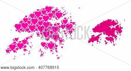 Love Mosaic And Solid Map Of Hong Kong. Mosaic Map Of Hong Kong Is Created With Pink Valentine Heart