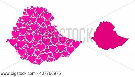 Love Mosaic And Solid Map Of Ethiopia. Mosaic Map Of Ethiopia Designed From Pink Lovely Hearts. Vect