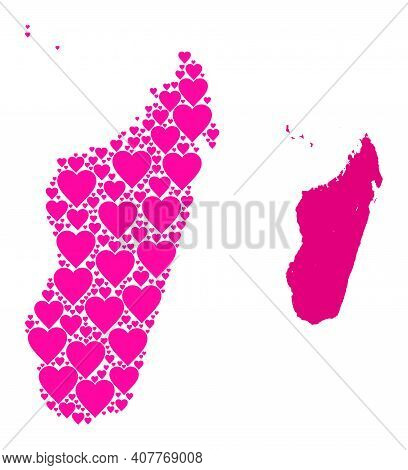 Love Collage And Solid Map Of Madagascar Island. Collage Map Of Madagascar Island Formed From Pink L
