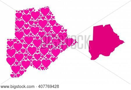 Love Collage And Solid Map Of Botswana. Collage Map Of Botswana Is Composed With Pink Love Hearts. V