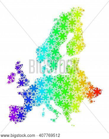 Rainbow Gradient Composition Of Euro Union Map Organized For New Year Holidays. Euro Union Map Mosai