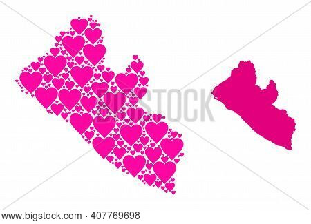 Love Pattern And Solid Map Of Liberia. Collage Map Of Liberia Is Composed With Pink Lovely Hearts. V