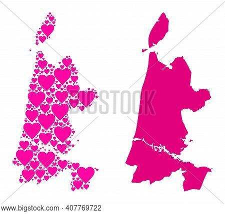 Love Mosaic And Solid Map Of North Holland. Mosaic Map Of North Holland Is Created From Pink Love He