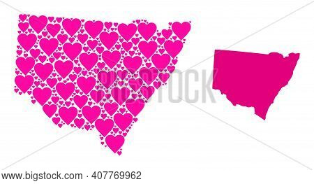 Love Mosaic And Solid Map Of New South Wales. Collage Map Of New South Wales Is Designed With Pink L