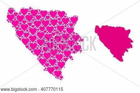 Love Collage And Solid Map Of Bosnia And Herzegovina. Collage Map Of Bosnia And Herzegovina Is Forme